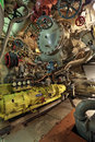 Diesel compartment the interior of the old submarine the compressor of a high pressur nobody Stock Photos