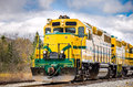 Diesel locomotive and cloudy sky in autumn Stock Photography