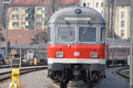 Diesel locomotive front view of passenger car Stock Photo