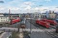 Diesel locomotives in the locomotive depot of the railway