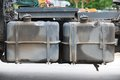 Diesel tanks duo of a trailer tow truck Royalty Free Stock Photo