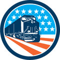 Diesel train american stars stripes retro illustration of a viewed from front set inside circle with and in the background done in Royalty Free Stock Photos