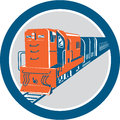 Diesel train circle retro illustration of a viewed from front set inside on isolated white background done in style Royalty Free Stock Photography
