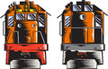 Diesel Train Front Rear Woodcut Retro Stock Images