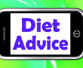 Diet Advice On Phone Shows Weightloss Knowledge Royalty Free Stock Photo