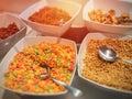 Diet breakfast closeup photograph of open buffet Royalty Free Stock Photo