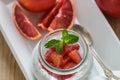 Diet Breakfast. Yogurt with Chia seeds and blood Orange Royalty Free Stock Photo