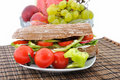Diet brown baguette with vegetable Stock Photo