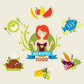 Diet choice of girls healthy lifestyle vector flat illustrations Stock Photo