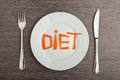 Diet concept. design food. word  diet carrots on  plate Royalty Free Stock Photo