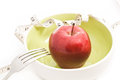 Diet concept food apples in a bowl fruit for Stock Photography