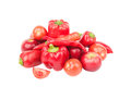 Diet concept: Set from red bell pepper, red hot chili pepper and apple, Royalty Free Stock Photo