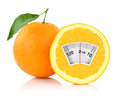 Diet concept weight scale on an orange Stock Photo