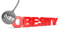 Diet destroy obesity concept wrecking ball as sport with obesi sign on a white background Royalty Free Stock Photo