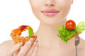 Diet. Dieting concept. Diet plan for woman. Girl and healthy foo Royalty Free Stock Photo