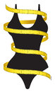 Diet figure measuring tape and female as a conceptual icon Royalty Free Stock Photography