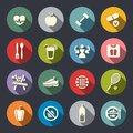 Diet and fitness theme icons set . Flat Royalty Free Stock Image