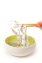 Diet food concept dish chopsticks and measure tape Royalty Free Stock Images