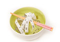 Diet food concept dish chopsticks and measure tape Royalty Free Stock Photo
