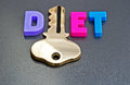 Diet is the key text in colorful upper case letters with letter i replaced by a gold on a gray background Stock Images