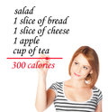 Diet list girl making a Royalty Free Stock Photo