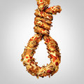 Diet noose concept as a group of greasy fast food shaped as a hangman rope as a symbol for nutritional cholesterol danger and a Royalty Free Stock Image