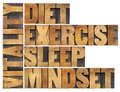 Diet sleep exercise and mindset vitality concept isolated word abstract in vintage letterpress wood type Royalty Free Stock Photo