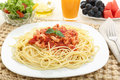 Diet spaghetti bolognese with white meat and fruit Royalty Free Stock Photo