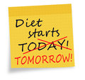 Diet starts today tomorrow note white background procrastination concept sticky reminder or new year resolution Royalty Free Stock Image