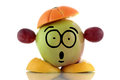 Diet time funny fruit character on white background Royalty Free Stock Images