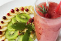 Diet of watermelon smoothie banana and cranberry Royalty Free Stock Photo