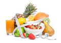 Diet weight loss breakfast concept with tape measure Royalty Free Stock Photo