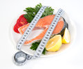 Diet weight loss concept fresh salmon steak lemon Royalty Free Stock Photo