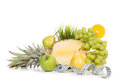 Diet weight loss concept with tape measure and fruits breakfast organic green apple pears pineapple orange slice lemon grapes on a Stock Image