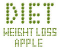Diet and weight loss made from green apples Royalty Free Stock Images