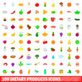 100 dietary products icons set, cartoon style