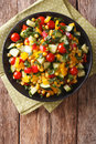 Dietary salad of corn, tomatoes, cucumbers and pepper. vertical Royalty Free Stock Photo