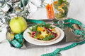 Dietary salad with orange, pomegranate and carom, centimeter for a good figure Royalty Free Stock Photo
