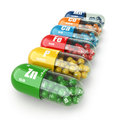 Dietary supplements variety pills vitamin capsules d Stock Photos