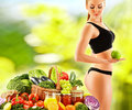 Dieting balanced diet based on raw organic vegetables Royalty Free Stock Image