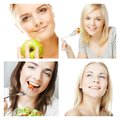 Dieting collage happy young women Stock Photo