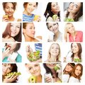 Dieting collage happy young women Stock Photos