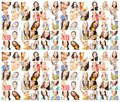 Dieting collage happy young women Stock Images