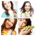 Dieting collage young beaitiful women Stock Photo