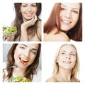Dieting collage young happy women Stock Images