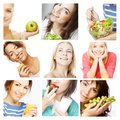 Dieting collage young happy women Royalty Free Stock Images