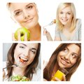 Dieting collage young happy women Stock Photos