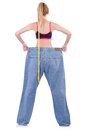 Dieting concept with oversize jeans Stock Photo