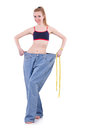 Dieting concept with oversize jeans Stock Image