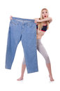 Dieting concept with oversize jeans Stock Photography